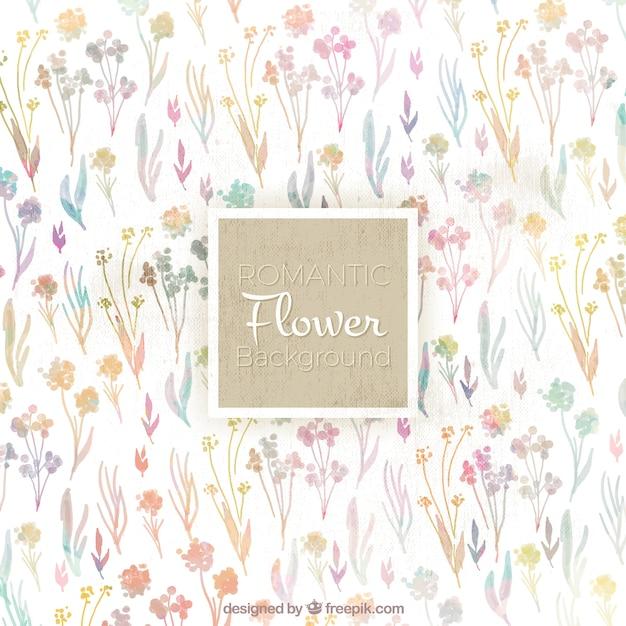Bonito Fondo Vintage De Flores De Acuarela