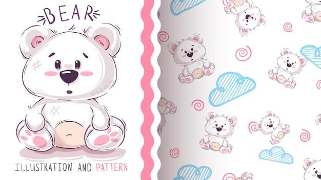 Bonito oso de peluche - patrón sin costuras Vector Premium