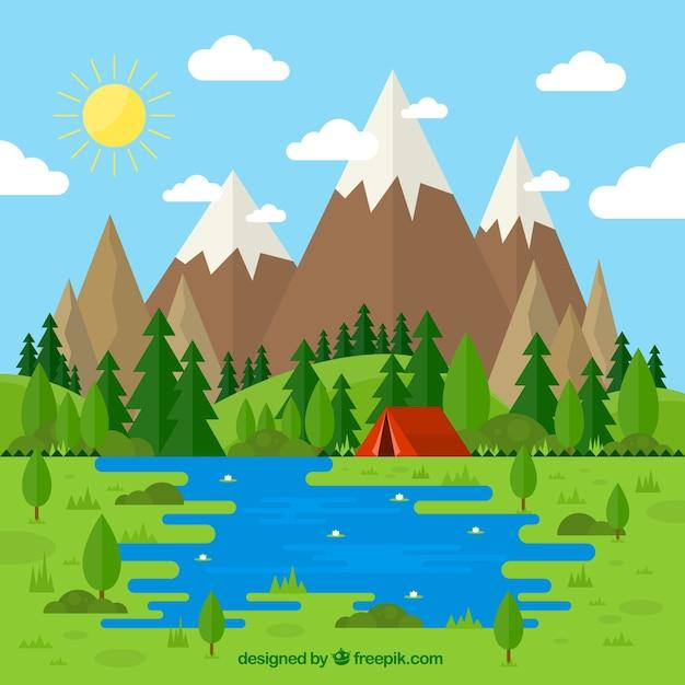 Bonito paisaje con una tienda de campa a en estilo plano for Mountain designs garden city