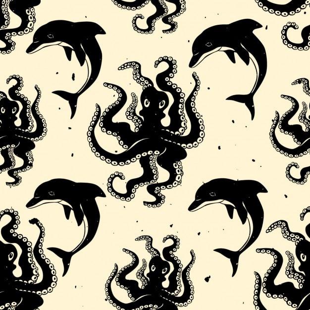 Bonito patrón con pulpos y delfines | Descargar Vectores gratis