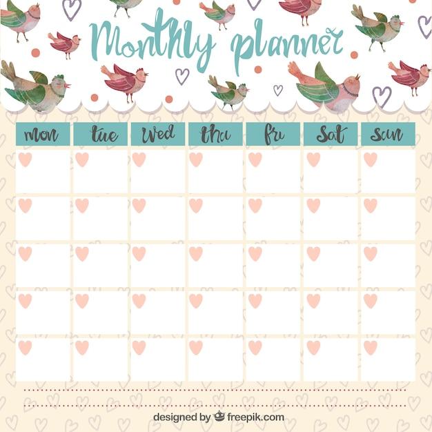 Bonito planificador mensual con pájaros cantores   Descargar ...