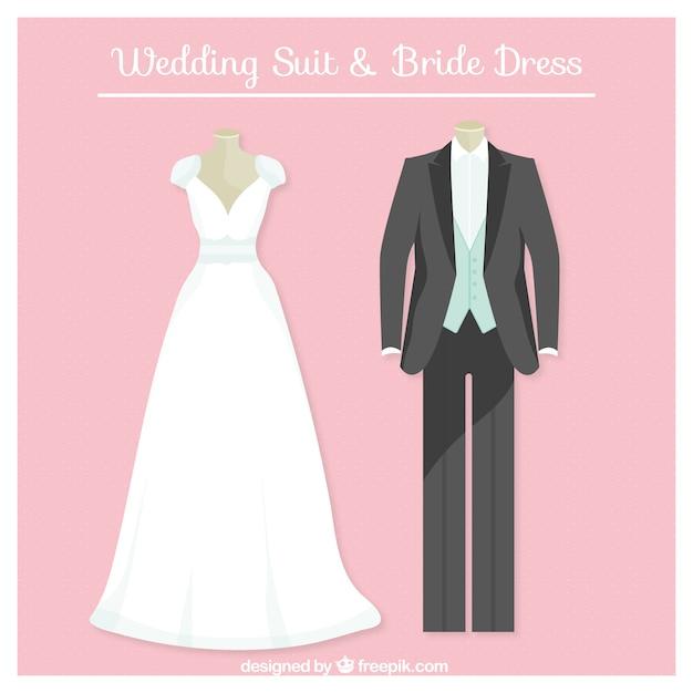Bonito traje de boda y vestido de novia | Descargar Vectores Premium