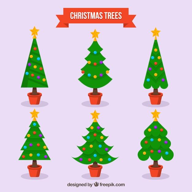 Bonitos rboles con bolas de navidad descargar vectores - Arboles de navidad bonitos ...