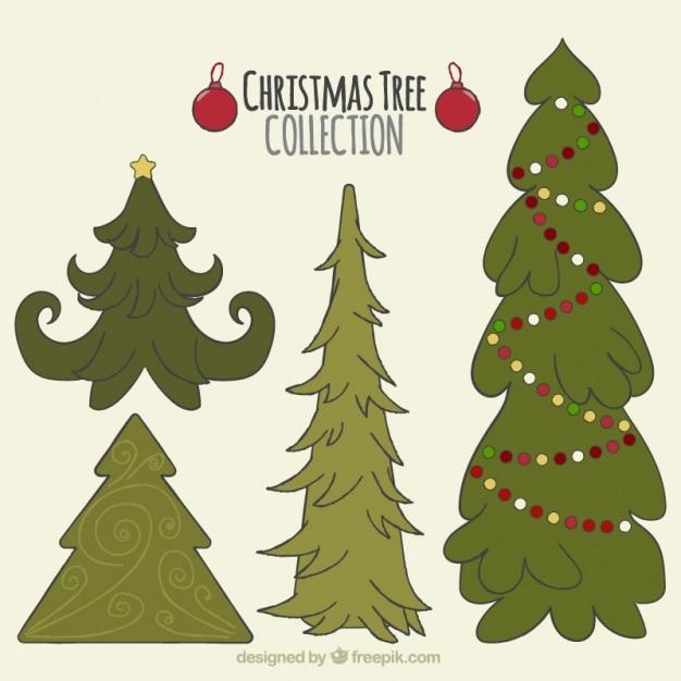 Bonitos rboles de navidad dibujados a mano descargar - Arboles de navidad bonitos ...