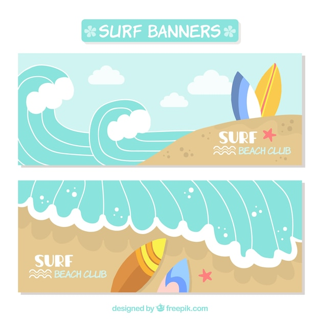 Bonitos banners de surf con olas descargar vectores gratis for Internet 28717