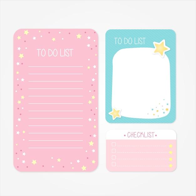 Bonitos diseños escolares para hacer listas y listas de verificación en tonos rosa y azul Vector Premium