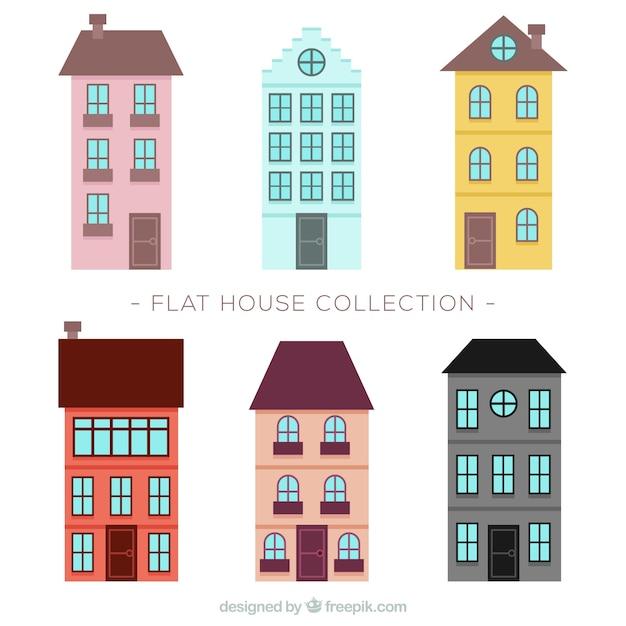 bonitos edificios con ventanas en diseo plano vector gratis