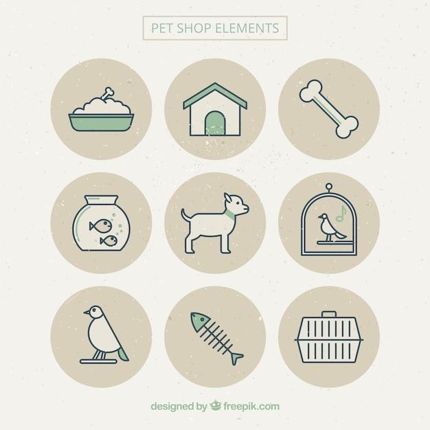 Bonitos elementos de mascotas vector gratuito