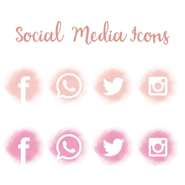 Bonitos iconos de redes sociales en acuarela. vector gratuito