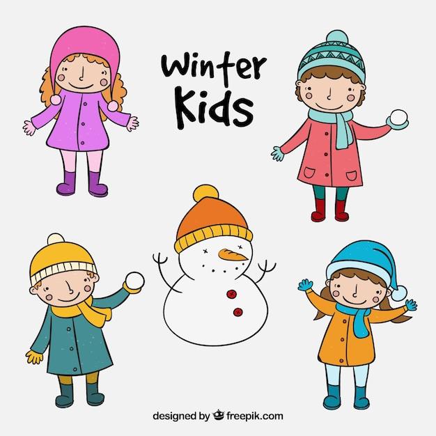 Bonitos Niños De Invierno En El Estilo De Dibujos A Mano Descargar