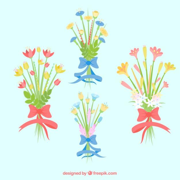 bonitos ramos con flores vector gratis - Ramos De Flores Bonitos
