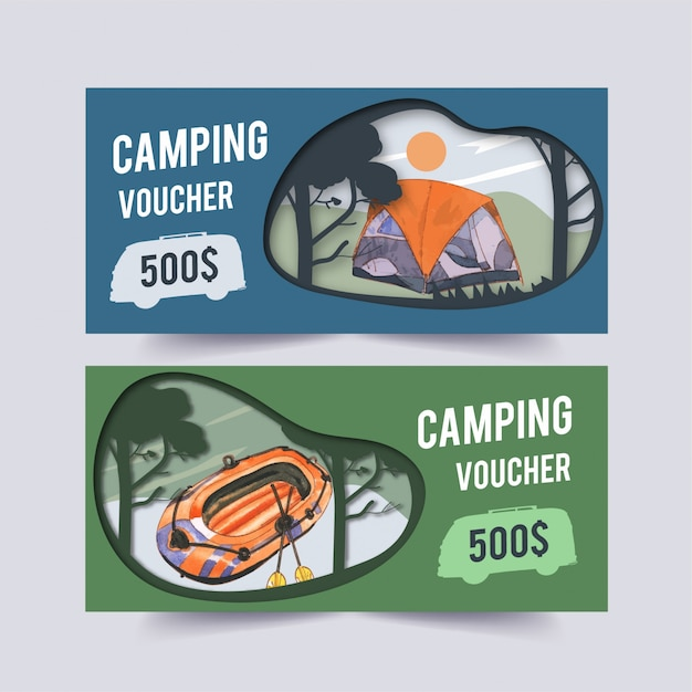 Bono de camping con ilustraciones de barcos, furgonetas, automóviles, carpas y árboles. vector gratuito