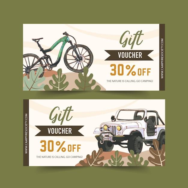 Bono de camping con ilustraciones de bicicleta, coche y bosque. vector gratuito