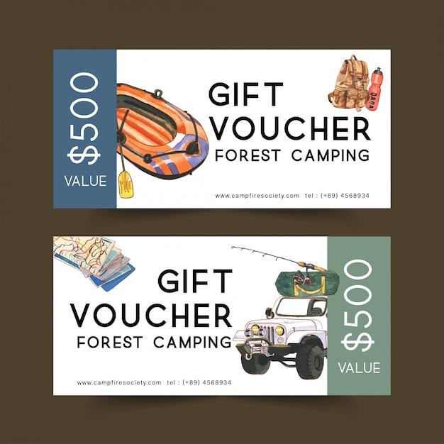 Bono de camping con ilustraciones de furgoneta, mochila y barco. vector gratuito