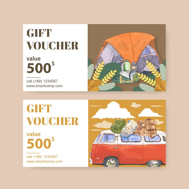 Bono de camping con ilustraciones de linterna, carpa, furgoneta y mochila vector gratuito