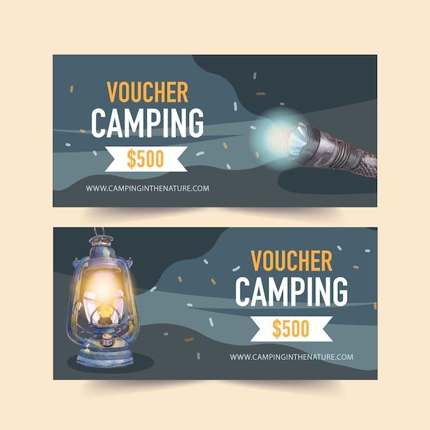 Bono de camping con linterna e ilustraciones de linterna. vector gratuito