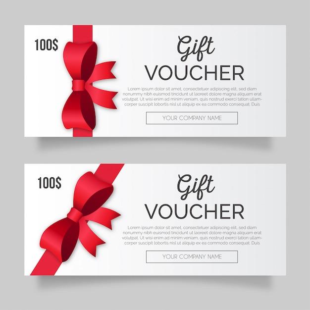 Bono de regalo moderno con cinta roja vector gratuito