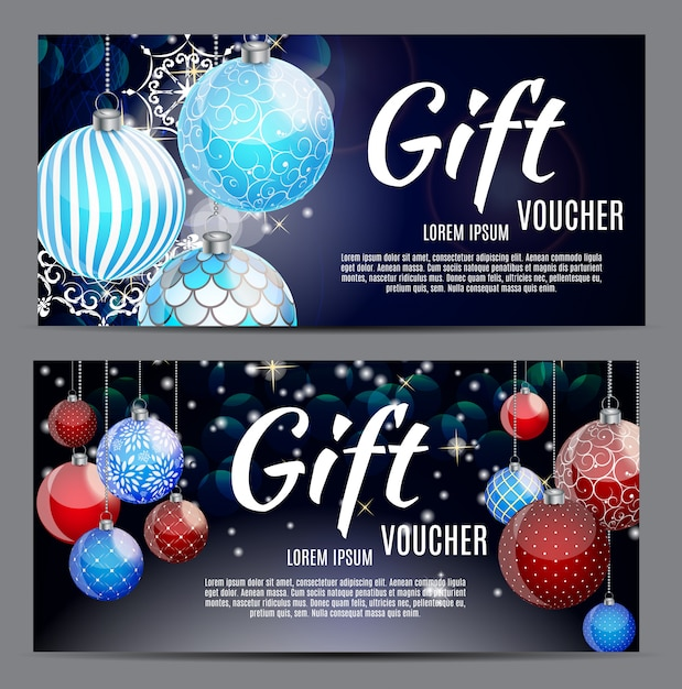 Bono de regalo de navidad y año nuevo, plantilla de cupón de descuento ve Vector Premium