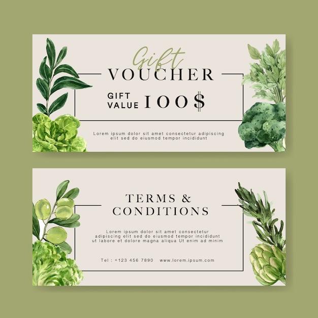 Bono regalo vegetal colección de pintura de acuarela. ilustración saludable orgánica de alimentos frescos vector gratuito