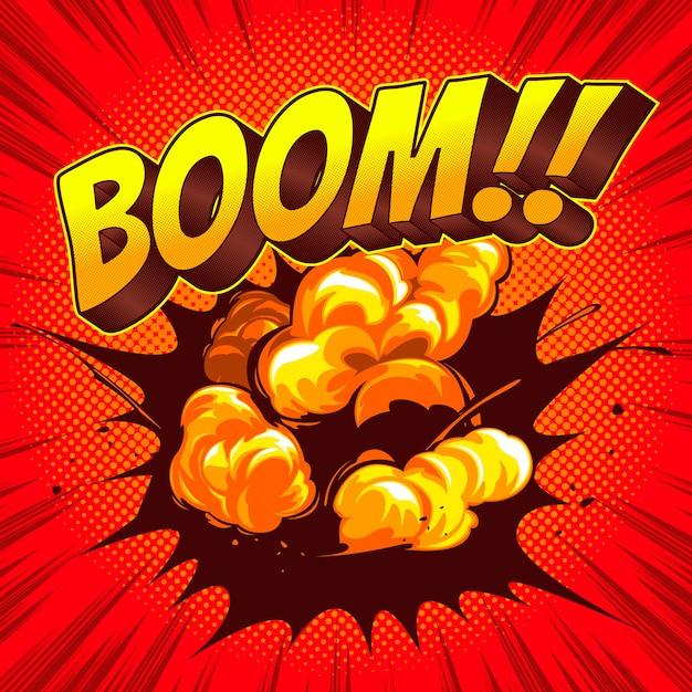 Boom comic discurso plantilla colores de fondo. Vector Premium