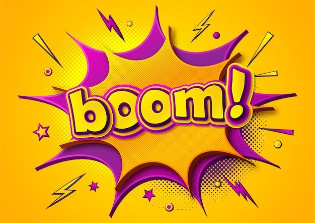 Boom comics póster. dibujos animados de burbujas de pensamiento y efectos de sonido. banner amarillo-morado en estilo pop art Vector Premium
