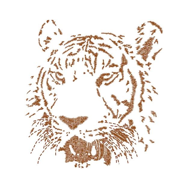 Bordado de cara de tigre | Descargar Vectores Premium