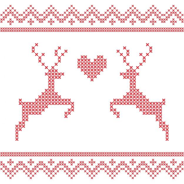 Bordado de navidad punto de cruz con ciervos. feliz navidad tarjeta ...