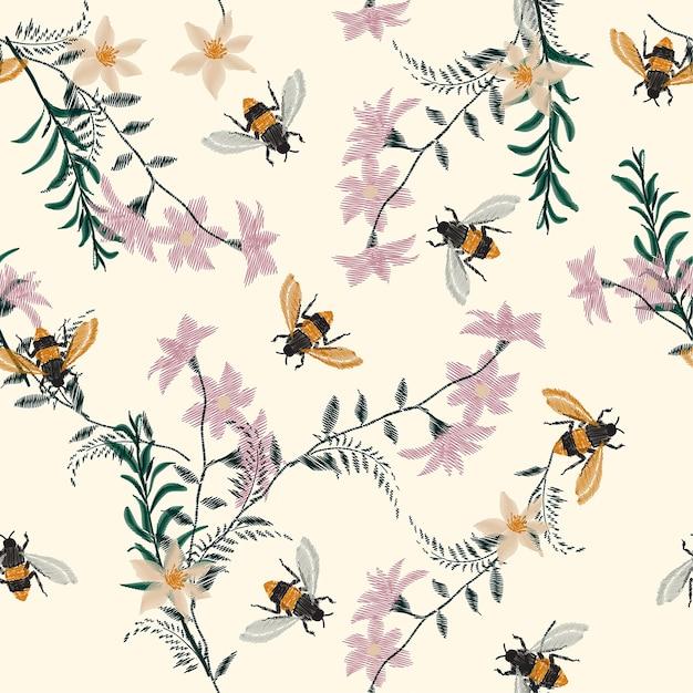 Bordado de la vendimia abeja y flor de patrones sin fisuras ...