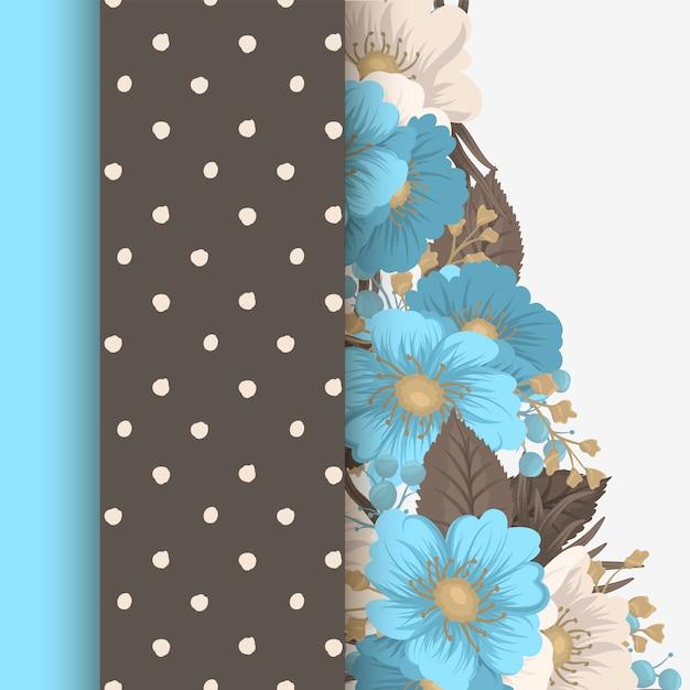 Borde de diseños florales - flores de color azul claro vector gratuito