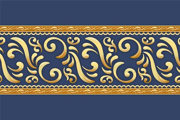 Borde dorado ornamental con fondo azul. vector gratuito