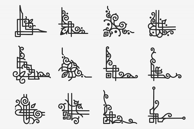 Borde de esquina de doodle dibujado a mano Vector Premium
