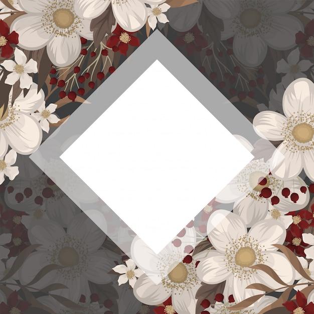 Borde de flores dibujo marco rojo vector gratuito