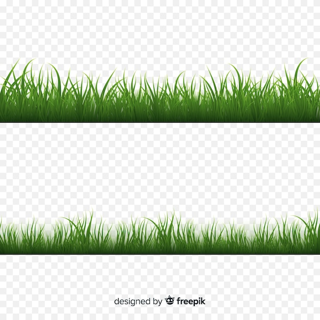 Borde de hierba verde diseño realista vector gratuito