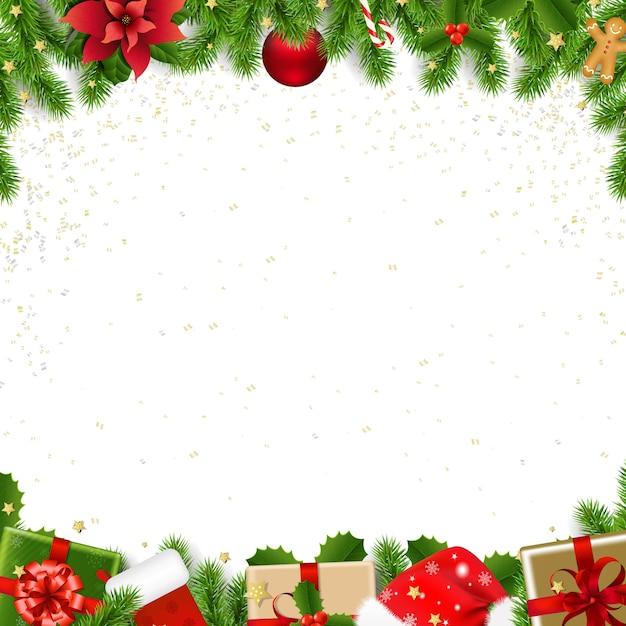 Borde de navidad con abeto Vector Premium