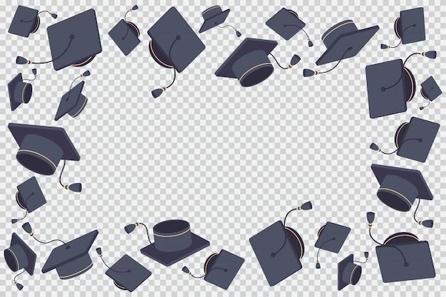 Borde o marco con ilustración de dibujos animados de gorro graduado volador aislado en un fondo transparente. Vector Premium