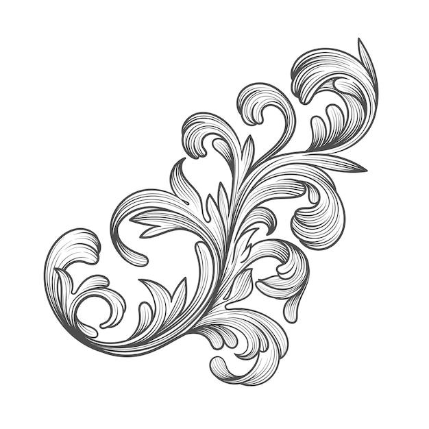 Borde ornamental dibujado a mano estilo barroco vector gratuito