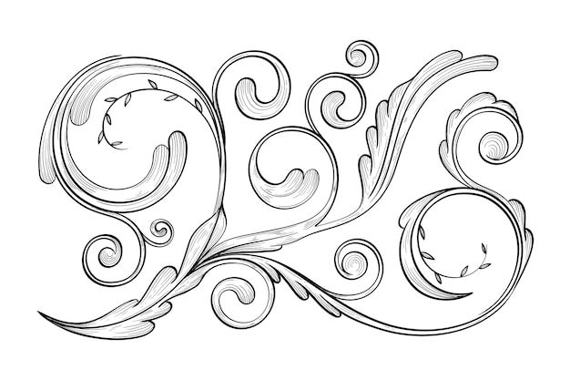Borde ornamental realista dibujado a mano vector gratuito