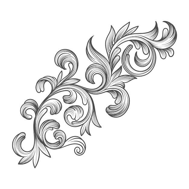Borde ornamental realista en estilo barroco. vector gratuito