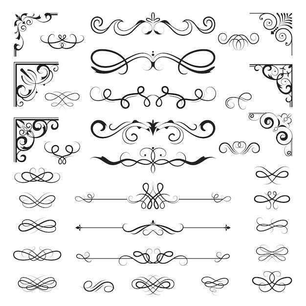 Bordes caligráficos vintage. divisores y rincones florales para diseños de decoración de elementos ornamentales Vector Premium