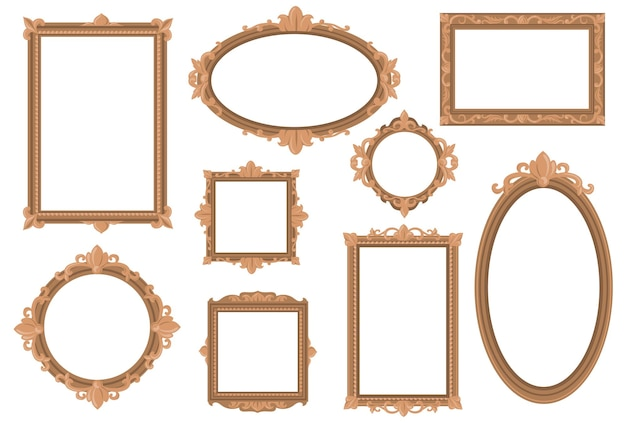 Bordes dorados vacíos ornamentados planos establecidos para diseño web. vector gratuito