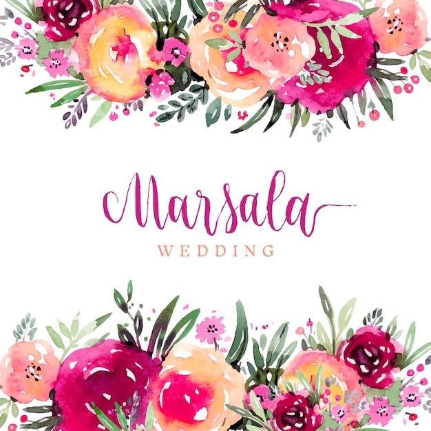 Wedding And Certificate Floral Border Border Clipart: Bordes Florales De Acuarela En Colores Marsala