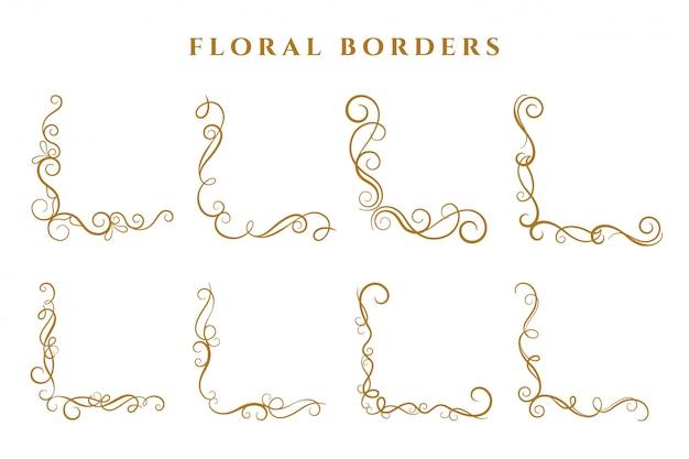 Bordes florales esquina marco colección ornamentales vector gratuito