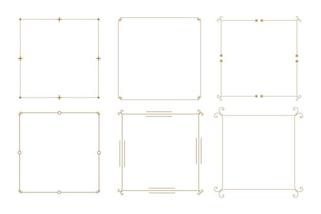 Bordes de marco vintage decorativo elegante conjunto de seis vector gratuito