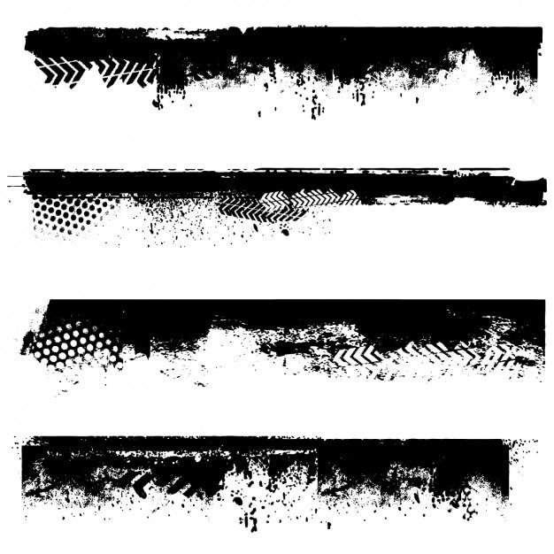 Bordes negros desgastados vector gratuito