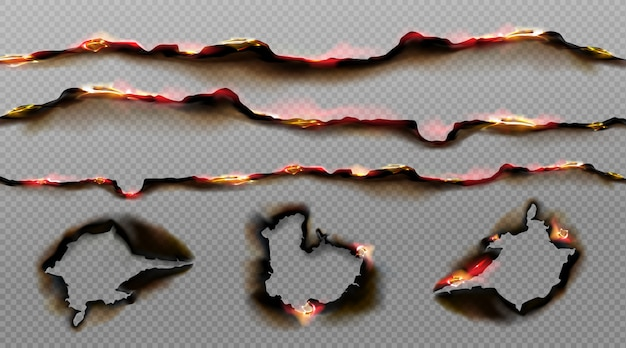 Bordes de papel quemado con fuego y ceniza negra vector gratuito