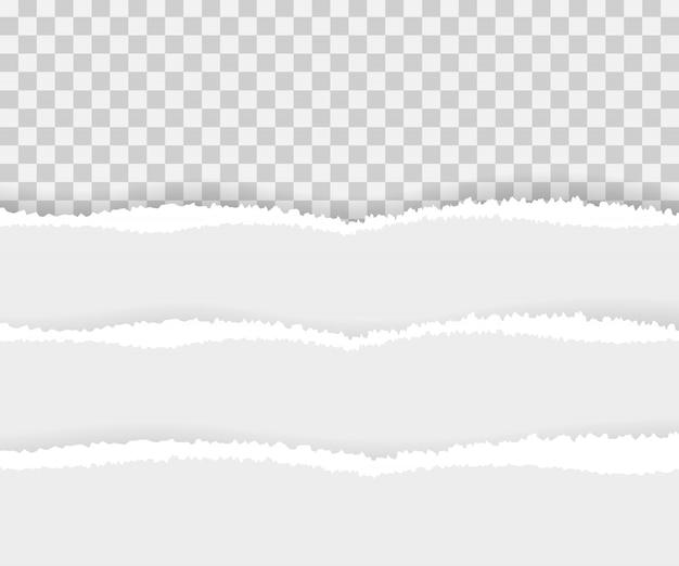 Bordes de papel rasgados, sin costuras horizontales. Vector Premium