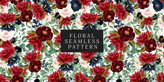 Borgoña y blush patrón floral sin fisuras Vector Premium