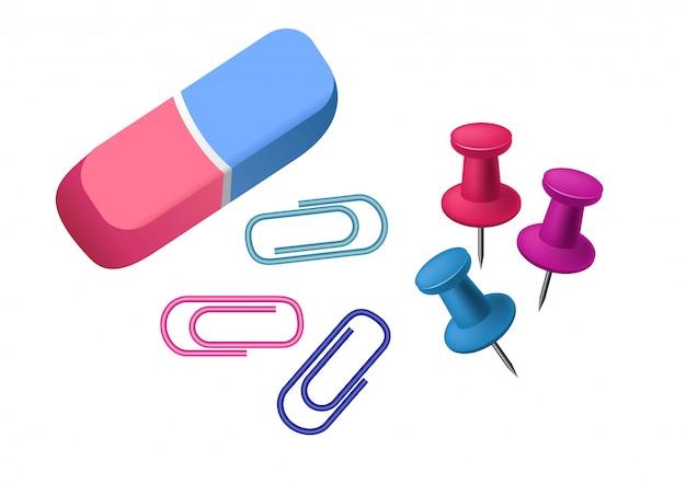 Borrador. goma, pin, clip de papel. concepto de papelería. vector gratuito
