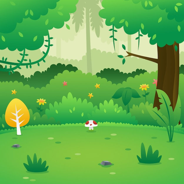 Bosque de dibujos animados de fondo Vector Premium
