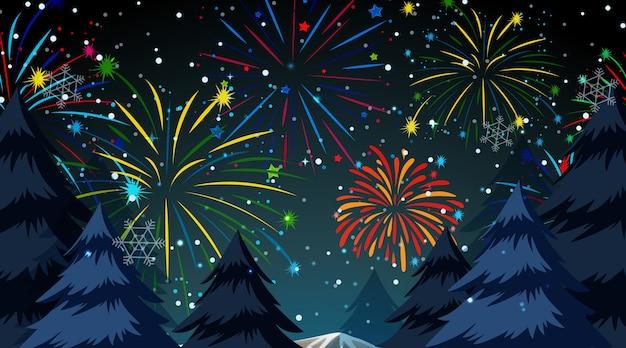 Bosque con escena de fuegos artificiales de celebración. vector gratuito